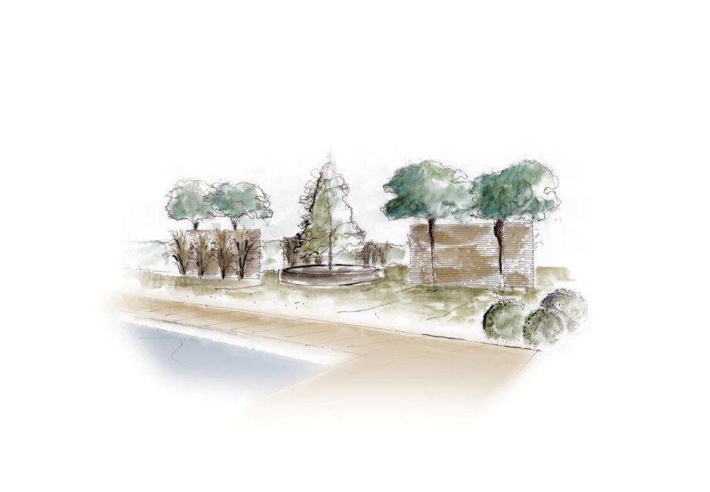 Schéma de la création du jardin